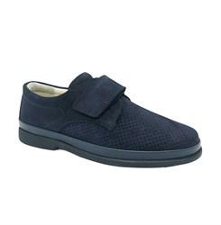 Туфли школьные для мальчика, цвет темно-синий, на липучке, перфорация