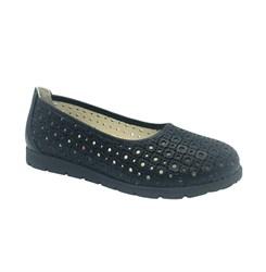 Туфли школьные для девочки, цвет темно-синий, перфорация