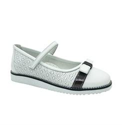 Туфли для девочки, цвет белый, с перфорацией, украшены бантом