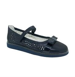 Туфли школьные для девочки, цвет темно-синий, ремешок на липучке, перфорация