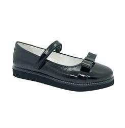 Туфли школьные для девочки, цвет черный, ремешок на липучке, бантик