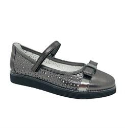 Туфли школьные для девочки, цвет темно-серый, ремешок на липучке, перфорация