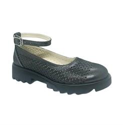 Туфли школьные для девочки, цвет темно-серый, ремешок на застежке