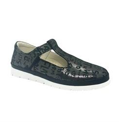 Туфли для девочки, цвет темно-серый (принт с буквами), ремешок на липучке