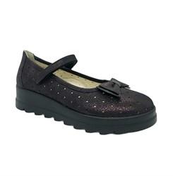 Туфли школьные, цвет бордовый, ремешок на липучке, перфорация