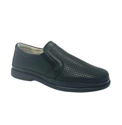 Туфли для мальчика, цвет черный, на липучке, перфорация в носовой части