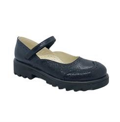 Туфли школьные для девочки, цвет темно-синий (декоративная строчка), ремешок на липучке