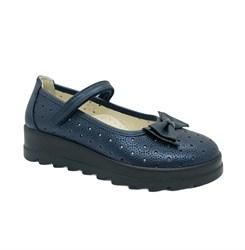 Туфли школьные для девочки, цвет синий, ремешок на липучке, бантик
