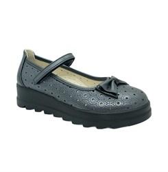 Туфли школьные для девочки, цвет серый, ремешок на липучке, перфорация