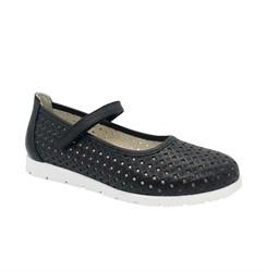 Туфли для девочки, цвет черный, ремешок на липучке, перфорация