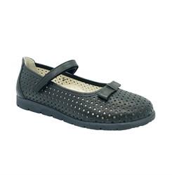 Туфли школьные для девочки, цвет черный, ремешок на липучке, перфорация