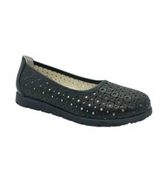 Туфли школьные для девочек, цвет черный, перфорация