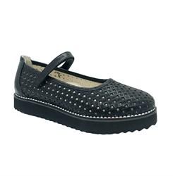 Туфли для девочки, цвет черный, ремешок на липучке, перфорация, подошва ТЭП