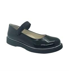 Туфли школьные для девочки, цвет черный, ремешок на липучке, наплак