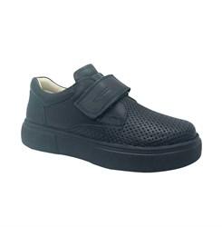 Туфли школьные для мальчика, цвет синий, на липучке, перфорация