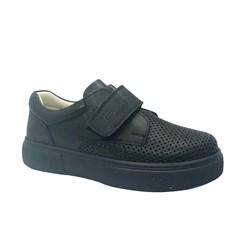 Туфли школьные для мальчика, цвет черный, на липучке, перфорация