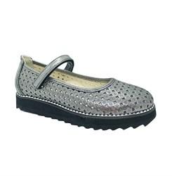 Туфли школьные для девочки, цвет серебристый, ремешок на липучке, перфорация