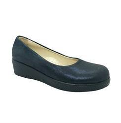 Туфли школьные для девочке, цвет темно-синий, на танкетке