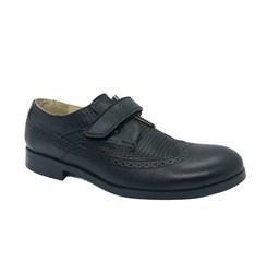 Туфли для подростков, цвет черный, на липучке, классика