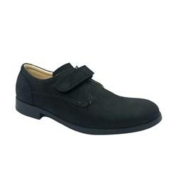 Туфли для подростков, цвет черный, на липучке, нубук