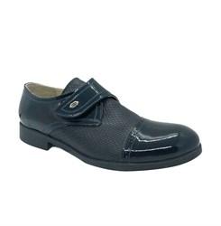 Туфли для подростков, цвет темно-синий, на липучке, классика
