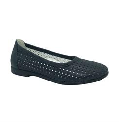 Туфли для девочки, цвет темно-синий, перфорация, небольшой каблук