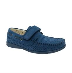 Мокасины для мальчика, цвет голубой, на липучке