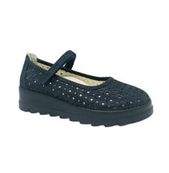 Туфли для девочки, цвет темно-синий, ремешок на липучке