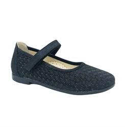 Туфли для девочки, цвет темно-синий, ремешок на липучке, небольшой каблук
