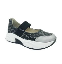 Туфли для девочки, цвет серый, на резинке