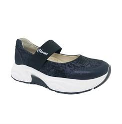 Туфли для девочки, цвет синий (узор), на резинке