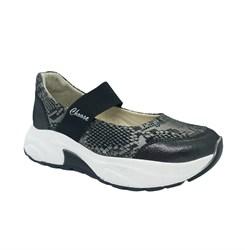Туфли для девочки, цвет темно-серый (узор), на резинке