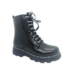 Ботинки для девочки, цвет черный, на молнии/шнурки