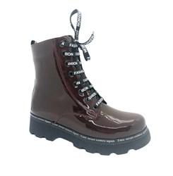 Ботинки для девочки, цвет бордовый, на молнии/шнурки