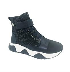 Ботинки для девочки, цвет синий, на липучке и шнурках