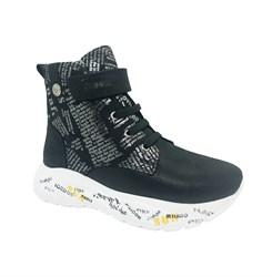 Ботинки для девочки, цвет черный, с принтом, на липучке и шнурках