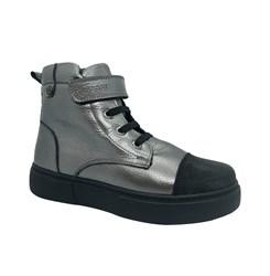 Ботинки для девочки, цвет серебристый, на липучке/шнурки