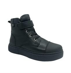 Ботинки для девочки, цвет черный, на липучке/шнурки