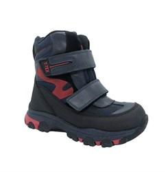 Ботинки для мальчика, цвет серый/красный, на липучках, мембрана