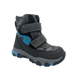 Ботинки для мальчика, цвет серый/голубой, на липучках, мембрана