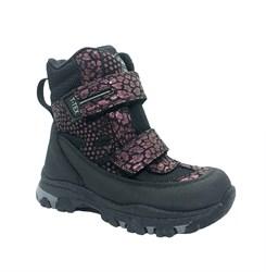 Ботинки для девочки, цвет серый/бордовый (узор), на липучках, мембрана