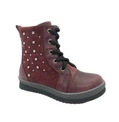 Ботинки для девочки, цвет бордовый, молния/шнурки