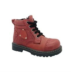 Ботинки для девочки, цвет красный, молния/шнурки