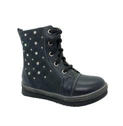 Ботинки для девочки, цвет синий, молния/шнурки