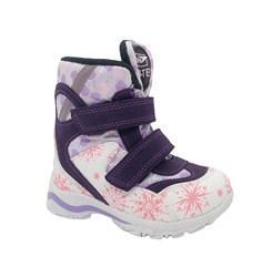 Ботинки для девочки, цвет белый/розовый (узор), на липучках, мембрана