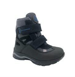 Ботинки для девочки, цвет черный/серый, на липучках, мембрана