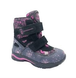 Ботинки для девочки, цвет серый/розовый (узор), на липучках, мембрана
