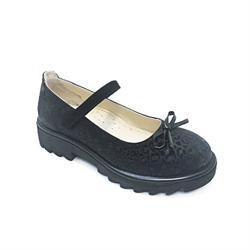 Туфли школьные для девочки, цвет черный (узор), ремешок на липучке