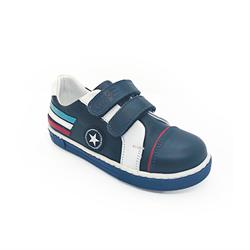 Полуботинки для мальчика, цвет темно-синий/белый, на липучках