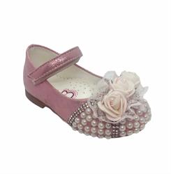 Туфли для девочки, цвет розовый, с декоративными стразами и цветком